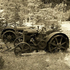 Abandoned Tractors by James Oviatt - Black & White Objects & Still Life