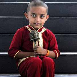 GOD's children by Anoop Namboothiri - Babies & Children Children Candids ( stairs, lama, buddhist, anoop namboothiri, monatsery, candid, prayer wheel, boy, buddha,  )