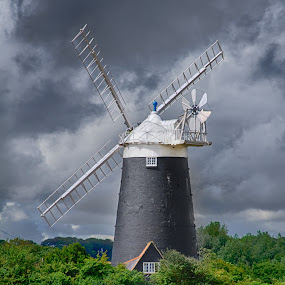 Burnham Overy Mill by Steven Stamford - Buildings & Architecture Public & Historical ( brooding, burnham overy mill, storm, field, windmill, dark sky, menacing, burnham overy, mill, architecture )