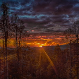 mountain sunrise by Mark Turnau - Landscapes Sunsets & Sunrises ( cloud formations, clouds, mountain, fall colors, autumn, color, cloudscape, autumn colors, sunrise )