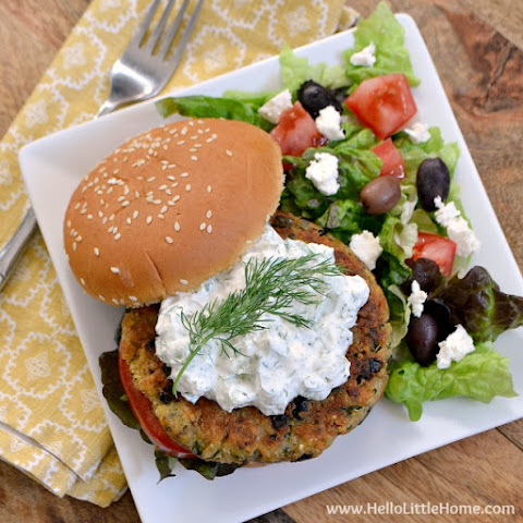 Greek Veggie Burgers with Cucumber Feta Sauce