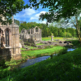 fountains abbey, near ripon, north yorkshire by Keith's Captures - Buildings & Architecture Public & Historical ( clouds, listed, uk, building, fountains, trust, national, land, north, landscape, gb, field, sky, village, yorkshire, monastery, monasteries, englang, trees, grounds, ripon, aldfield, abbey )