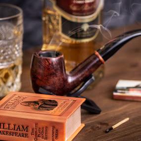 Ahlly by Bogdan Rusu - Artistic Objects Still Life ( whisky, mood, smoke, pipe, grim )