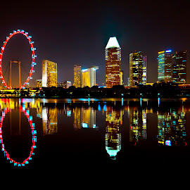 Singapore Flyer by Gordon Koh - City,  Street & Park  Vistas ( skyline, reflection, suntec, kallang river, still, singapore, nightscape, tranquil, skyscraper, vista, asia, singapore flyer, night, waterfront )