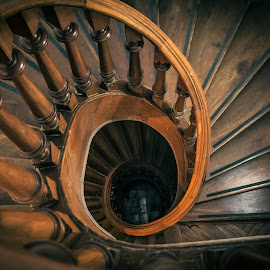 Spiral Stairs by Edi Libedinsky - Buildings & Architecture Architectural Detail ( old, stairs, wood, atmosphere, spiral )