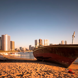 Abandoned Boat by Ricky Pagador - Transportation Boats ( boats, city )