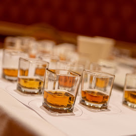 Whiskey Shots by Cameron Tendler - Food & Drink Alcohol & Drinks ( alcohol, bourbon, tasty, shots, whiskey )