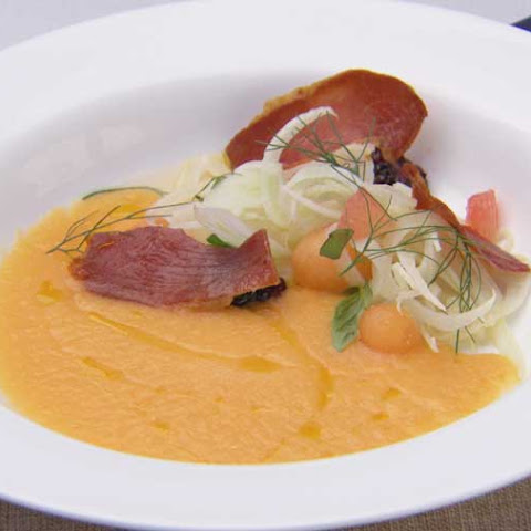 Rockmelon Gazpacho with Fennel and Prosciutto