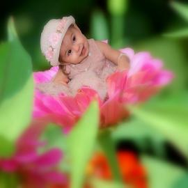Flower Child by Dawn Vance - Digital Art People ( girl child, child, g, girl, baby girl, child portrait, baby, girl toddler, toddler, antique, portrait, flower )