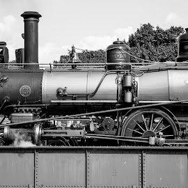 Engine # 7 by Donna Sparks - Transportation Trains ( history, roundhouse, black and white, steam train, train )