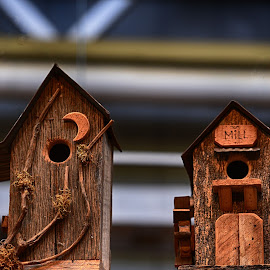 Wooden Bird Houses  by Lorraine D.  Heaney - Artistic Objects Other Objects