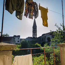 clothes on the wire by Mario Spiz - Artistic Objects Clothing & Accessories ( on the wire, night photography, clothes, stari grad, night, paiz )