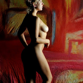 Shadow on the Red by DJ Cockburn - Nudes & Boudoir Artistic Nude ( studio, von kuntz, blonde, art nude, model, low key, shadow, woman, helena kuntz, standing, portrait, profile )