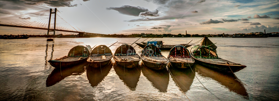 Boats at Prinsep Ghat by Somsubhra Chatterjee - Transportation Boats ( prinsep ghat, calcutta, sigma, d90, sunset, kolkata, boats, 10-20, nikon )