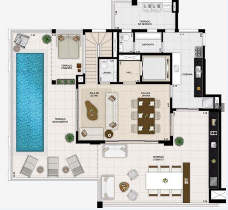 Planta Duplex Inferior - 332 m²