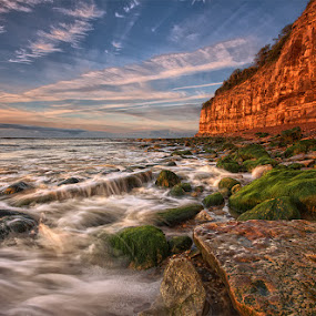 Tidal games by Mark Leader - Landscapes Waterscapes ( cliffs, sky, pett level, waves, tide, sea, rocks, coast )