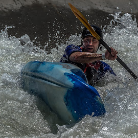 On the Top of a Wave by Mike Watts - Sports & Fitness Watersports ( water, kayak, whitewater, man )