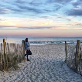 Serenity Moment by John Goldenne - Instagram & Mobile iPhone ( water, fence, sand, calmness, sunset, ocean, beach, landscape,  )