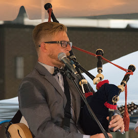 Bag Pipes by Thomas Shaw - People Musicians & Entertainers ( music, microphone, glasses, bagpipes, raleigh, stage, north carolina, oc7, band, red, musician, guitar, brown, hair )