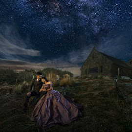 You are my star by Zhuo Ya - Wedding Bride & Groom ( zhuoya, church of the good shaper, church, prewedding, stars, lake tekapo, kiwi, wedding, night, zhuoya photography, new zealand, milky way )