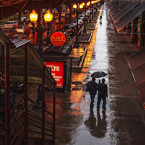 Rainy Day Friends by Jon Kinney - City,  Street & Park  Street Scenes ( friends, chicago, rain, city )