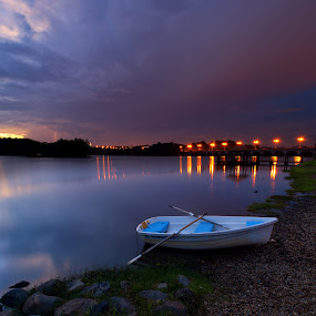 Stranded by Zackri Zim's - Landscapes Waterscapes ( d3000, vertorama, putrajaya, wetland, malaysia, night, boat, nikon, light, kitlens )