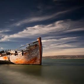 Shipwreck  by Þorsteinn H. Ingibergsson - Transportation Boats ( clouds, stranded, iceland, sky, nature, shipwreck, wreck, structor, boat, landscape, abandoned )