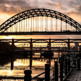 Quayside Sunset by Adam Lang - Buildings & Architecture Bridges & Suspended Structures ( sunset, high level bridge, tyne bridge, newcastle, gateshea, swing bridge )