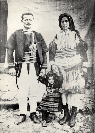 The village of Galičnik is in a mountainous region close to Albania. Its isolation before roads were built meant that traditional customs survived much longer than elsewhere. These costumes were acquired in the 1970s from the family who had owned them for generations. The photograph shows these same costumes being worn by members of the family in the 1920s.