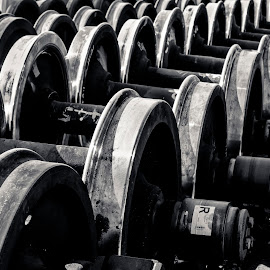 Wheel sets for steam locomotives by Diana Sanderson - Transportation Trains ( driving wheels, steel wheels, wheels, train wheels, railway wheels )