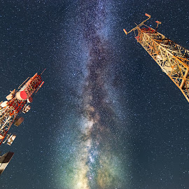 The two Towers by Grigoris Koulouriotis - Buildings & Architecture Bridges & Suspended Structures ( tower, technology, sky, night photography, radio beacon, stars, long exposure, beacon, nightscape, milky way )