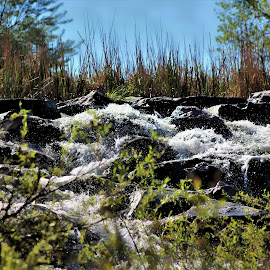 Water on the rocks by Bruce Newman - Landscapes Prairies, Meadows & Fields ( waterfalls, nature, landscape, springtime, skyscape )