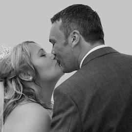 First Kiss by Jason Cherrington - Wedding Bride & Groom ( kiss, kissing, wedding )