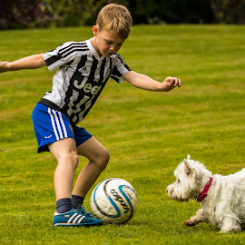 Get Past the Last Defender by Barry Carter - Sports & Fitness Soccer/Association football ( boy playing, west highland white terrier, football, west highland terrier, dribbling, dog, soccer )