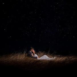 Stars by Lodewyk W Goosen (LWG Photo) - Wedding Bride & Groom ( love, kiss, wedding photography, weddings, wedding, night, bride and groom, wedding photographer, bride, groom, bride groom )