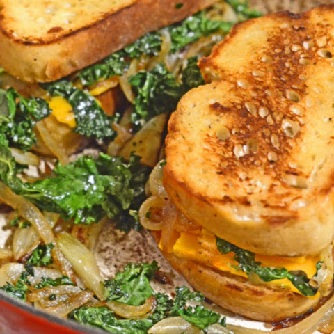 Caramelized Fennel, Onion & Kale Toasted Cheese Sandwich