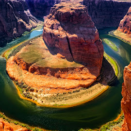 Horseshoe Bend Circle by Brian Adamson - Landscapes Caves & Formations ( colorado river, page, arizona, circle, horseshoe bend, river )