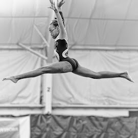 To Land on the Balance Beam by Arnold Ward - Black & White Sports ( balance beam, girl, black and white, action, sports, leap, gymnastics )