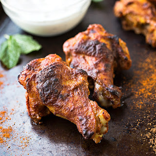 Crispy-Baked Chicken Wings Tandoori-Style with Cool Minted Yogurt Dipping Sauce