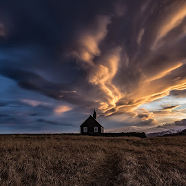 Clouds over Budir by Wim Denijs - Landscapes Cloud Formations ( iceland, kirkja, budir, sunset )