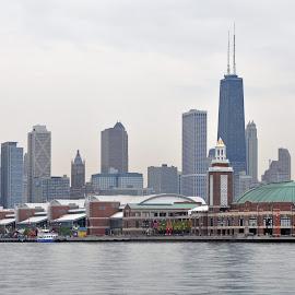 Chicago Navy Pier by Dawn Hoehn Hagler - City,  Street & Park  Skylines ( skyline, navy pier, chicago navy pier, chicago,  )