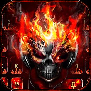 Horror skull Keyboard Theme Fire Skull For PC