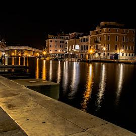 Outside Santa Lucia Sation, Venice by Hariharan Venkatakrishnan - City,  Street & Park  Night
