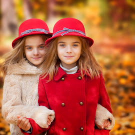by Anna Anastasova - Uncategorized All Uncategorized ( girl child, girls, sisters, red, autumn, children )