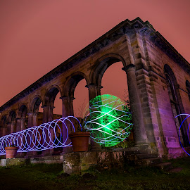 Lightpainting the Orangery by Lesley Hudspith - Abstract Light Painting ( orb, lightpainting, architecture, spiral, landscape )