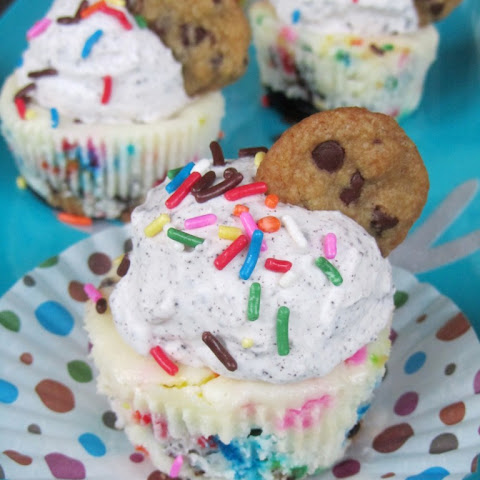COOKIE DOUGH-FUNFETTI-OREO (aka BIRTHDAY EXPLOSION) MINI CHEESECAKES
