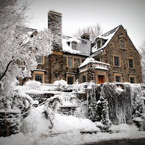 Old Home in Winter by Of-the-Star Designs - Buildings & Architecture Homes ( stonework, old house, montreal, stone house, house )