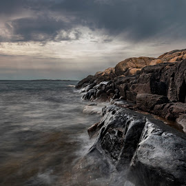 Bad Weather  by Patric Rosberg - Landscapes Waterscapes ( shore, stone, rock, landscape, spring, coast, sky, nature, weather, water, element, beautiful, horizon, sea, seascape, season, blue, bay, outdoor, background, wave, scene, summer, day, view, natural )