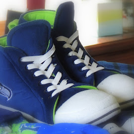 Converse Hawk Slippers by Becky Luschei - Artistic Objects Clothing & Accessories ( slippers, season, football, seattle seahawk, celebration )