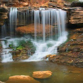 THE FALLS AT PINION CREEK by Dana Johnson - Landscapes Waterscapes ( waterfalls, waterscape, cascade, creek, falls, landscape )